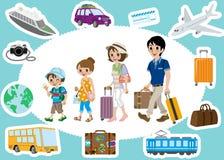 Traveling Family and Transportation sets vector illustration