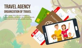 Traveling Family on Vacation. Vector Illustration. stock illustration