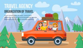 Traveling Family on Vacation. Vector Illustration. vector illustration