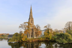 Traveling in the famous St Alban's Church, Copenhagen Stock Photos