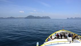 Traveling by ferry boat. A ferry to phi phi islands, thailand stock footage
