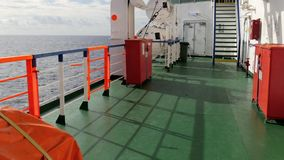 Traveling by ferry boat. Travel by sea, a ferry deck details stock video
