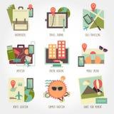 Traveling flat design icon set Royalty Free Stock Photo