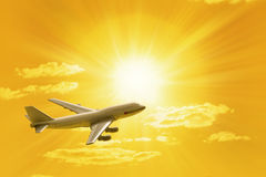 Traveling Flying Airplane Sunset Sky Royalty Free Stock Images