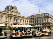 Traveling in France. Tourist train in the historic center of Montpellier, France Royalty Free Stock Photography