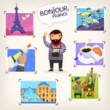 Traveling in France. Tourist making pictures of famous French sights, events and local cuisine Royalty Free Stock Image