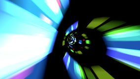Traveling Through A Futuristic Vortex Full With Colors And Lights. Traveling Fast In A Wormhole Through Space And Time stock video