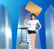 Traveling Girl in the City Royalty Free Stock Images