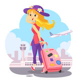 Traveling Girl With Pink Trolley Bag. A blonde girl wearing purple hat with pink trolley bag going to airport. She is happy to go on vacation with airplane. It' Royalty Free Stock Image