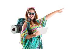 Traveling girl with tablet stock images