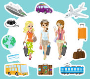 Traveling girls and  Transportation sets Stock Photography