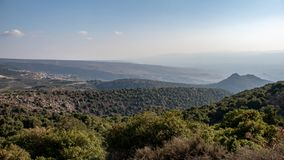 Traveling at Golan Heights, view on Nimrod castle stock photography