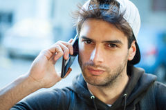 Traveling Guy With Mobile Phone Stock Photos