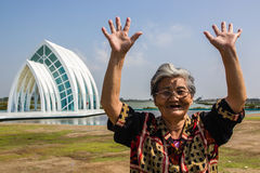Traveling happy old woman Royalty Free Stock Images