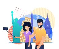 Traveling Happy Young Married Couple Take Selfie. Flat Cartoon Man and Woman Shooting on Cellphone ahead Famous Place. Newlyweds and Honeymoon. Vector royalty free illustration