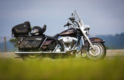Traveling with a Harley Davidson motorcycle, Road King royalty free stock photography