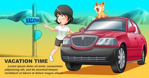 She is traveling with her cat by pink car in vacation time. vector illustration