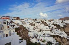 traveling for honeymoonvin Oia Santorini Greece royalty free stock images