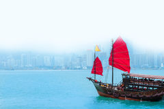 Traveling Hong Kong by Junk Boat. Traveling Hong Kong by taking Junk Boat royalty free stock image