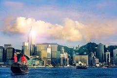Traveling Hong Kong by Junk Boat Stock Photo