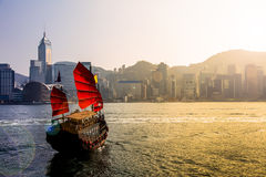 Traveling Hong Kong by Junk Boat Stock Image