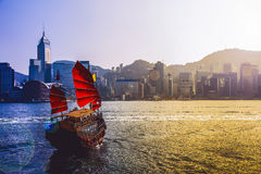 Traveling Hong Kong by Junk Boat. Traveling Hong Kong by taking Junk Boat royalty free stock photo