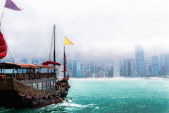 Traveling Hong Kong by Junk Boat. Traveling Hong Kong by taking Junk Boat royalty free stock photography