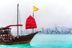 Traveling Hong Kong by Junk Boat. Traveling Hong Kong by taking Junk Boat stock image