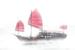 Traveling Hong Kong by Junk Boat. Traveling Hong Kong by taking Junk Boat stock photography