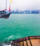 Traveling Hong Kong by Junk Boat Stock Images