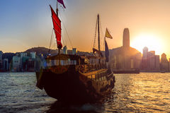 Traveling Hong Kong by Junk Boat. Traveling Hong Kong by taking Junk Boat stock photos