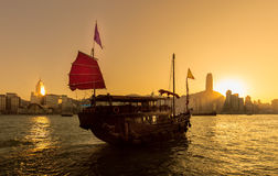 Traveling Hong Kong by Junk Boat. Traveling Hong Kong by taking Junk Boat stock photo