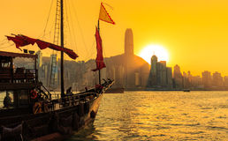 Traveling Hong Kong by Junk Boat. Traveling Hong Kong by taking Junk Boat stock images