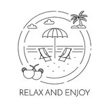 Traveling horizontal banner with beach, palm and cocktails Line art Royalty Free Stock Photos