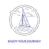 Traveling horizontal banner with sailboat on waves, clouds in circle for trip, tourism, travel agency, hotels,recreation Royalty Free Stock Image