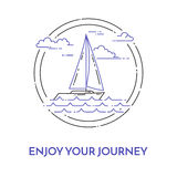 Traveling horizontal banner with sailboat on waves, clouds in circle for trip, tourism, travel agency, hotels, recreation card. Stock Images