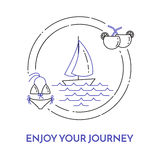 Traveling horizontal banner with sailboat on waves, cocktails and swimsuit in circle. Royalty Free Stock Photo