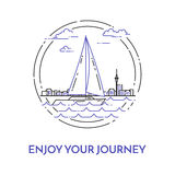 Traveling horizontal banner with sailboat on waves on cuty skyline background Stock Image