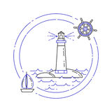 Traveling horizontal banner with sailboat on waves and lighthouse. Line art. Stock Photos
