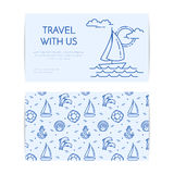 Traveling horizontal banner with sailboat on waves. Seamless pattern with sea rest accessories for trip, tourism, travel agency, h Royalty Free Stock Images