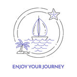 Traveling horizontal banner with sailboat on waves, starfish, palm on island for trip, tourism, travel agency, hotels, recreation Royalty Free Stock Photography