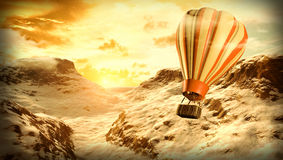 traveling. On a hot air balloon Stock Image