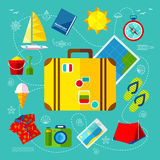 Traveling Icon Set. Traveling Icons Set with Things for Planning a Vacation Stock Photography
