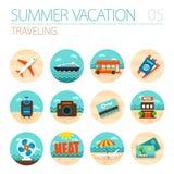 Traveling icon set. Summer. Vacation Royalty Free Stock Image