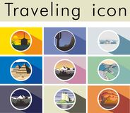 Traveling Icon. Travel around the world postcard. Tourism and vacation, earth world, journey global, vector illustration Royalty Free Stock Images