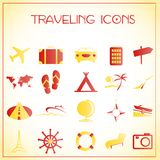 Traveling icons Stock Image