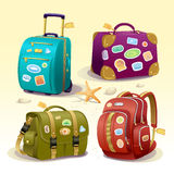 Traveling icons illustration with suitcases, bag and backpack. Traveling icons illustration with suitcase, bag, briefcase and backpack. Detailed vector items Royalty Free Stock Photography