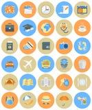 Traveling Icons Round Set. Set of modern flat round traveling icons Royalty Free Stock Photography