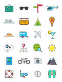 Traveling icons set. Set of 24 traveling icons Royalty Free Stock Photos