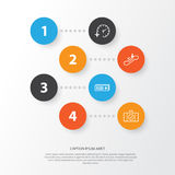 Traveling Icons Set. Collection Of Airport Card, Travel Clock, Escalator Down And Other Elements. Also Includes Symbols. Traveling Icons Set. Collection Of Royalty Free Stock Images